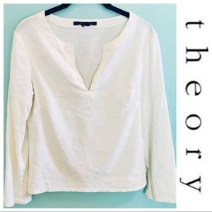 Theory White Linen Blend Ottavia Tunic